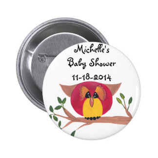 Cute Horned Owl Painting Pinback Button