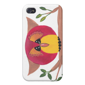 Cute Horned Owl Painting iPhone 4 Case