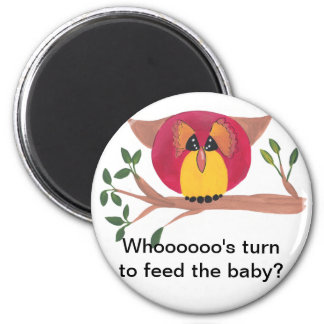 Cute Horned Owl Painting 2 Inch Round Magnet