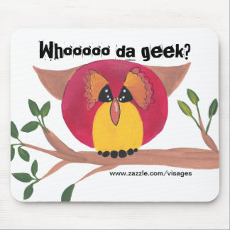 Cute Horned Owl Painting Mouse Pad