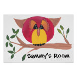 Cute Horned Owl Painting Posters