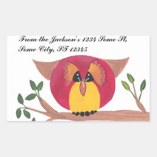 Cute Horned Owl Painting Rectangular Sticker