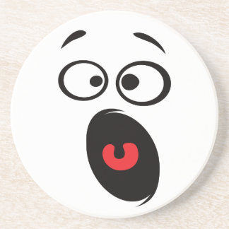 Cute Horrified Face Drink Coaster