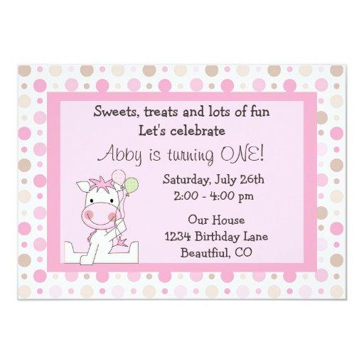 Cute Horse 1st Birthday Invitation For Girls 5 X 7 Invitation Card