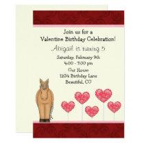 Cute Horse and Hearts Valentine Birthday Invite