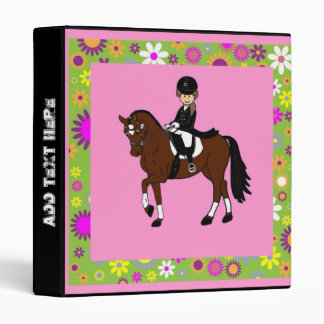 Cute horse and rider, show pony dressage gifts vinyl binders
