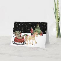 Cute Horse and Santa Christmas Card