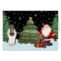Cute Horse and Santa Christmas Greeting Card