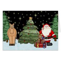 Cute Horse and Santa Merry Christmas Holiday Card