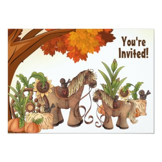 Cute Horse Autumn Baby Shower Invitation