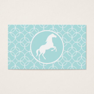 Cute Horse; Baby Blue Circles Business Card