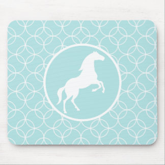 Cute Horse; Baby Blue Circles Mouse Pad