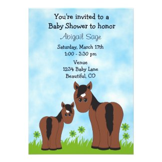 Cute Horse Baby Shower Invitation for Girls