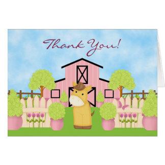 Cute Horse, Barn and Pretty Garden Thank You Card