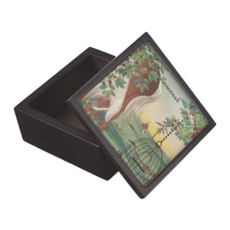 Cute Horse Bird Cage and Trees Wood Keepsake Box Premium Gift Boxes