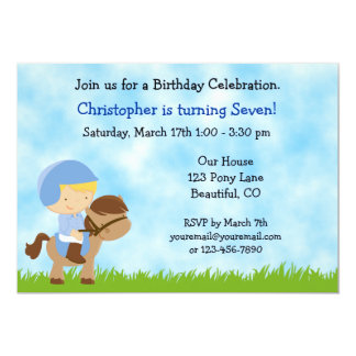 Cute Horse Birthday Invitation for Boys
