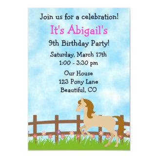 Cute Horse Birthday Invitation for Girls