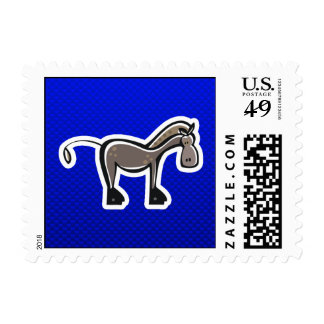 Cute Horse; Blue Postage Stamp