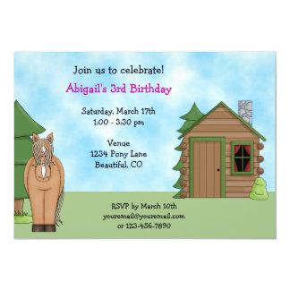 Cute Horse & Cabin Birthday Invitation for Girls