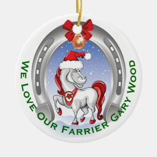 Cute Horse Christmas Gift for Farrier Ceramic Ornament