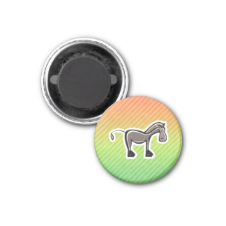 Cute Horse; Colorful 1 Inch Round Magnet
