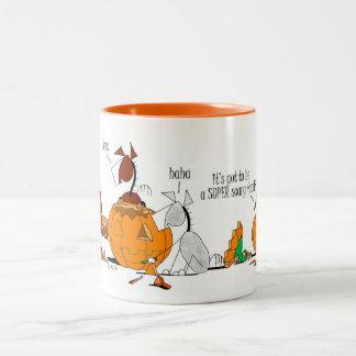 Cute Horse & Donkey Pumpkin Carving Cartoon Mug