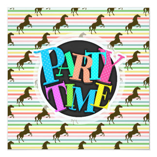 Cute Horse, Equestrian, Rainbow Pattern Card