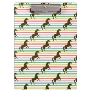 Cute Horse, Equestrian, Rainbow Pattern Clipboard