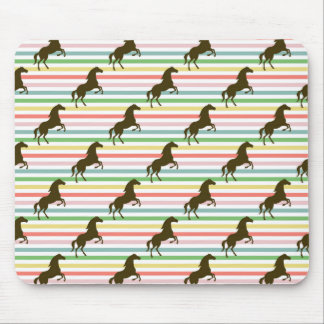 Cute Horse, Equestrian, Rainbow Pattern Mouse Pad