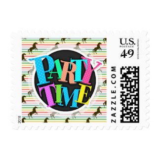 Cute Horse, Equestrian, Rainbow Pattern Postage Stamps