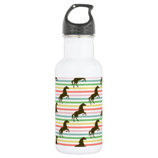 Cute Horse, Equestrian, Rainbow Pattern Water Bottle