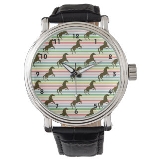 Cute Horse, Equestrian, Rainbow Pattern Wrist Watch