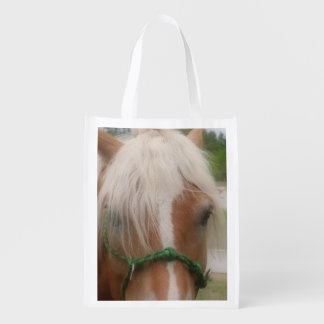 Cute Horse Face Animal Grocery Bags