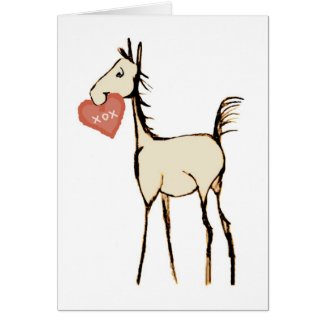Cute Horse Foal Valentine's Day Card