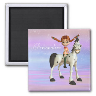 Cute Horse & Girl Personalized Magnet