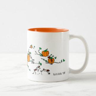 Cute Horse Goat Pumpkin Patch Cartoon Mug