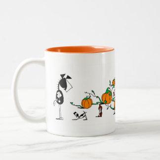 Cute Horse & Goat Pumpkin Patch Cartoon Mug