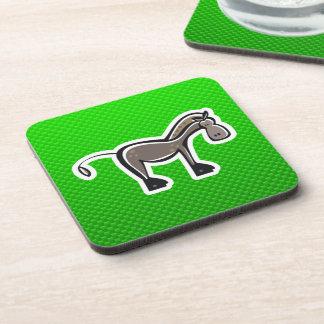 Cute Horse; Green Beverage Coasters