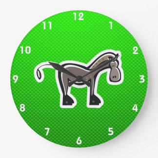 Cute Horse; Green Large Clock