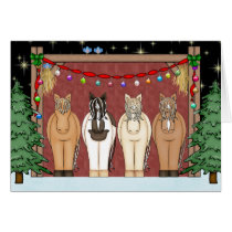 Cute Horse Herd Happy Holidays Christmas Card