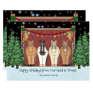 Cute Horse Herd Happy Holidays Christmas Card