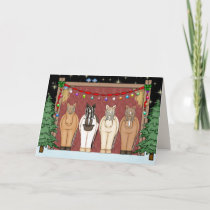 Cute Horse Herd Happy Holidays Christmas Holiday Card