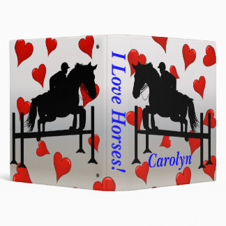 Cute Horse Jumper and Hearts 3 Ring Binder