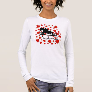 Cute Horse Jumper and Hearts Long Sleeve T-Shirt