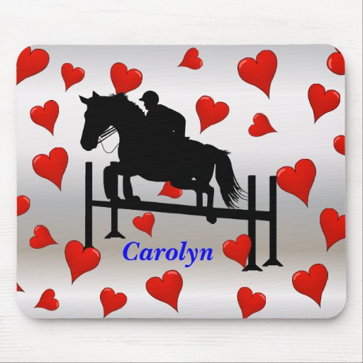 Cute Horse Jumper and Hearts Mouse Pad