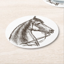 Cute Horse Lover Country Western Farm  Equestrian Round Paper Coaster