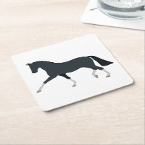 Cute Horse Lover Country Western Farm  Equestrian Square Paper Coaster