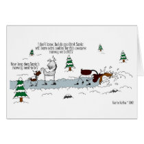 Cute Horse, Pony & Moose Cartoon Chrismas Card