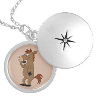 Cute horse round locket necklace
