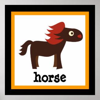 Cute Horse Safari Animals Baby Kids Poster